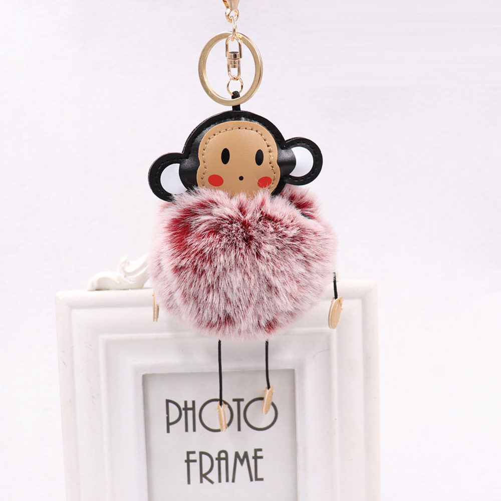 Prelife Memory Cute Monkey Fur Ball Keychain Furry Women Bag Car Pompon Key  Ring Faux Fur Key Chains Trinket Wholesale-in Key Chains from Jewelry ... 4d94223f96