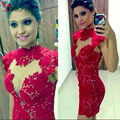 2016 Hot Sexy Red Lace Short Cheap Coctail Dresses Cap Sleeves Sheath Party Women Gowns
