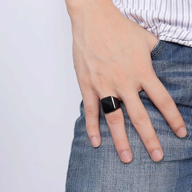 Jiayiqi 316L ไทเทเนียม BLANK PLAIN แหวนผู้ชายแฟชั่น Punk เครื่องประดับบุคลิกภาพเรียบพื้นผิวสำหรับของขวัญเพื่อน