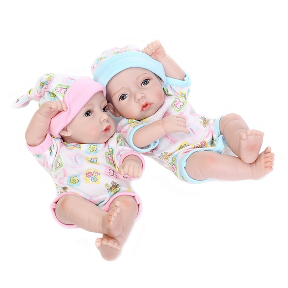 2Pcs 28cm Cute Reborn Doll Toys With Cradle Realistic Shower Kids Baby Playmate Lifelike Bebe Doll Educational Toys Best Gift