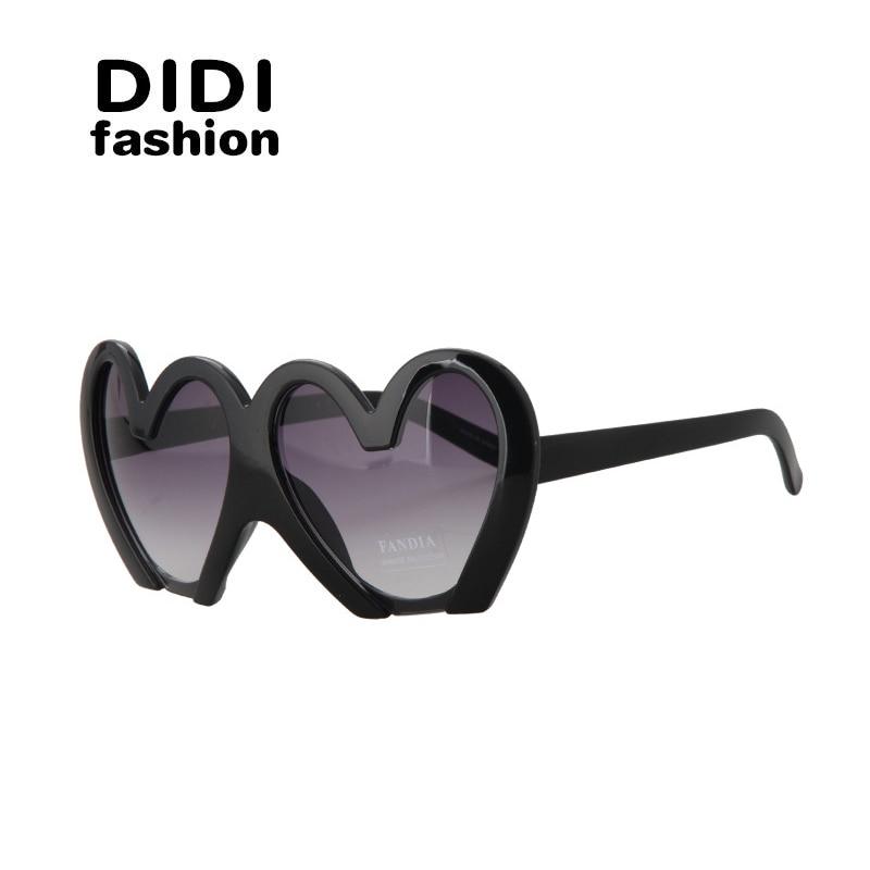 DIDI Multi New Goggle Heart SunGlasses Women Brand Designer Lunettes De Soleil Femme Luxe Marque Oculos De Sol Feminino W234