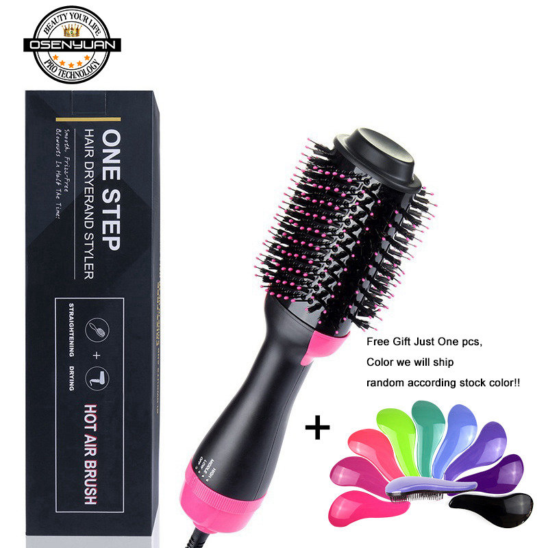 Big Stock! 1000W Professional Hair Dryer Brush 2 In 1 Straightener Curler Comb Electric Blow Roller