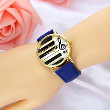 Blue Leather Music Black And White Piano Key Ladies font b Watch b font Metal Alloy