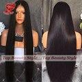 Sedosa peluca Sintética Recta Peluca Delantera Del Cordón con el Pelo Del Bebé Negro Recto Largo de la Peluca para Las Mujeres Negras No Derramar Ningún Tanlged