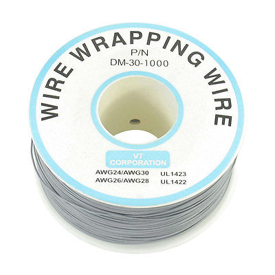 Free Shipping 300M 30AWG Tin Plated Copper Wire Insulation Test Wrapping Cable Roll Gray new 30awg 0 25mm tin plated copper wire wrapping insulation test cable 8 colored wrap reel tin plated copper plastic