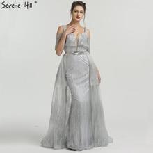 SERENE HILL 2019 Silver Glitter Mermaid Evening Dresses Cut