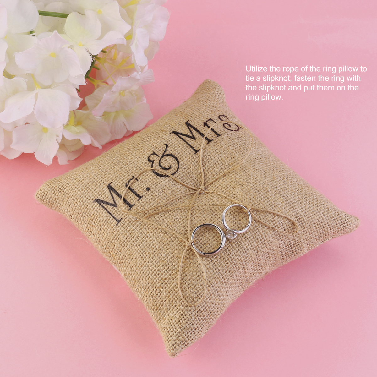 Mr & Mrs Burlap Jute Bow Twine Rustic Wedding Ring Pillow-in Party ...