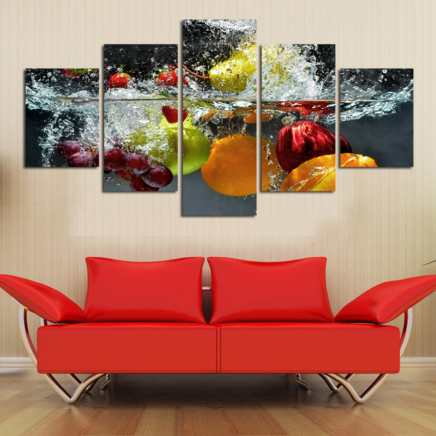 modern kitchen home interior high quality pictures   5 Panels High Quality Frame Canvas Painting kitchen fruit ...