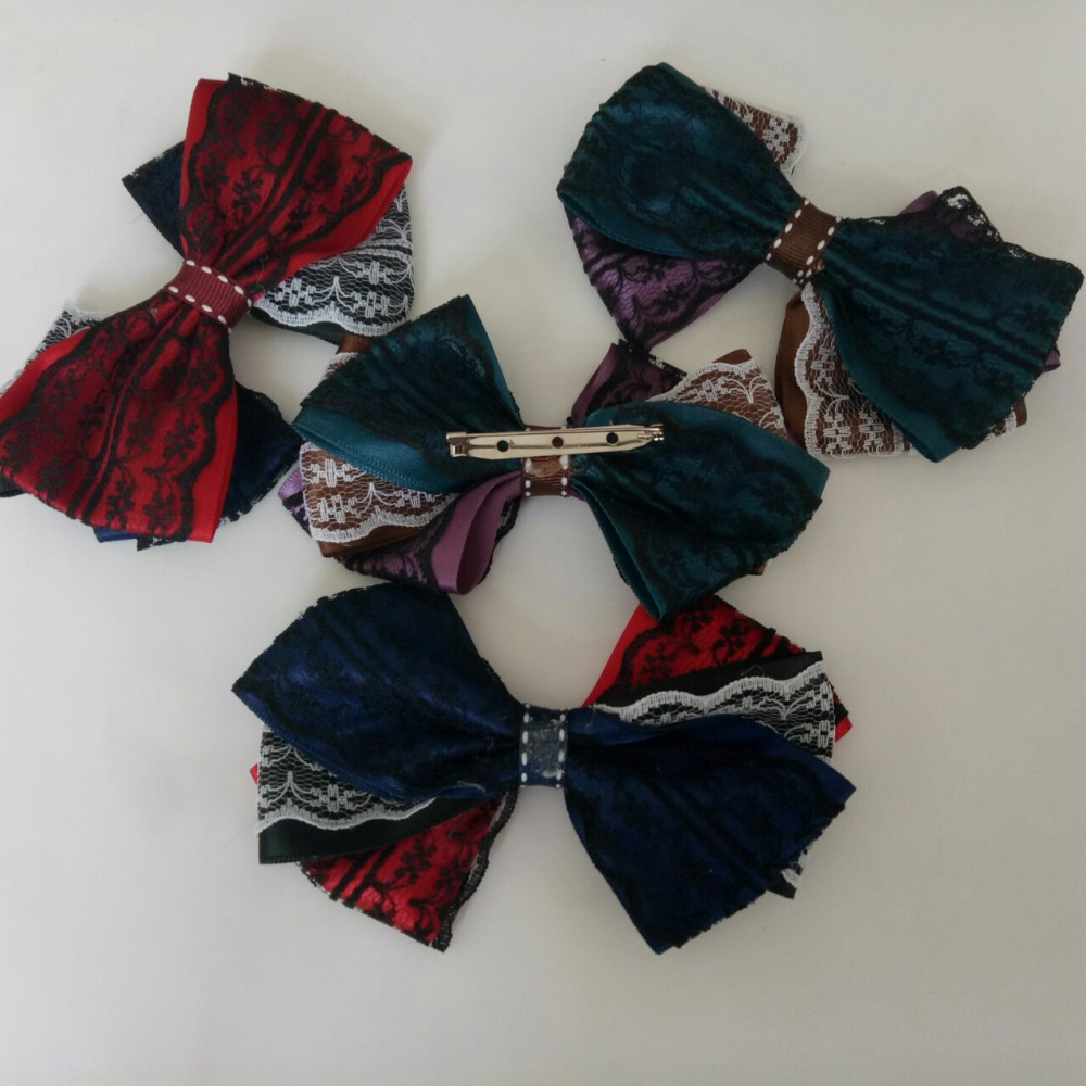 Ribbon bowknot Brooch pins big Bow Brooches  Women Accessories tie College Cloth Art girls Jewelry pins mennament men brooch pin