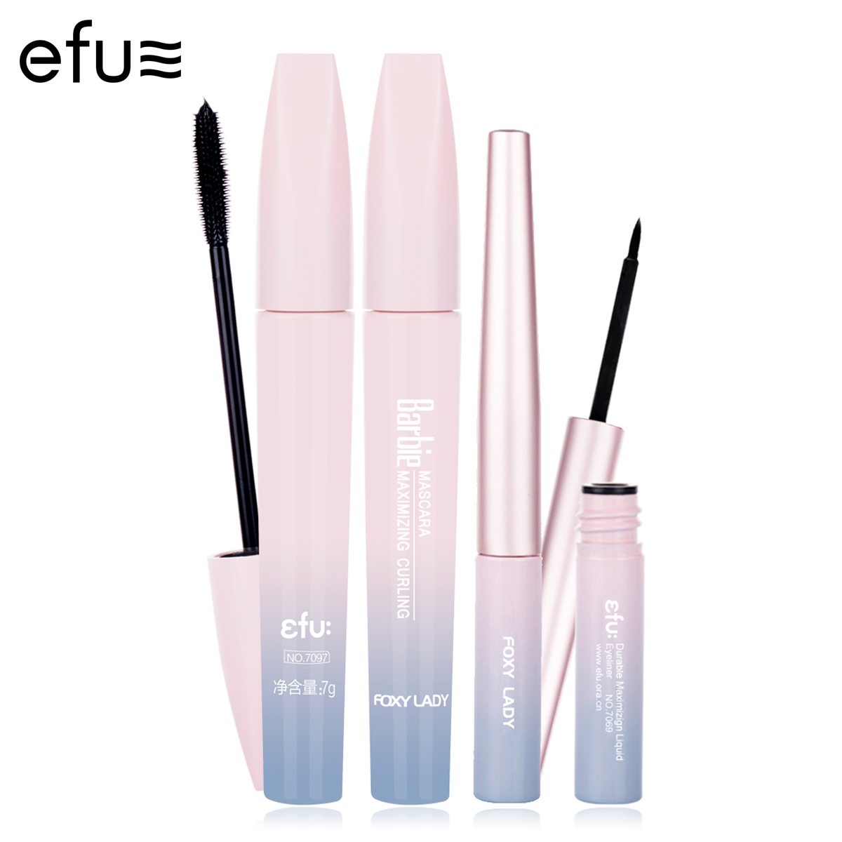 1Set =2Pcs Quick-Dry Eyeliner and Waterproof Black Mascara 7g+2.4g Brand EFU #EFUEYE002