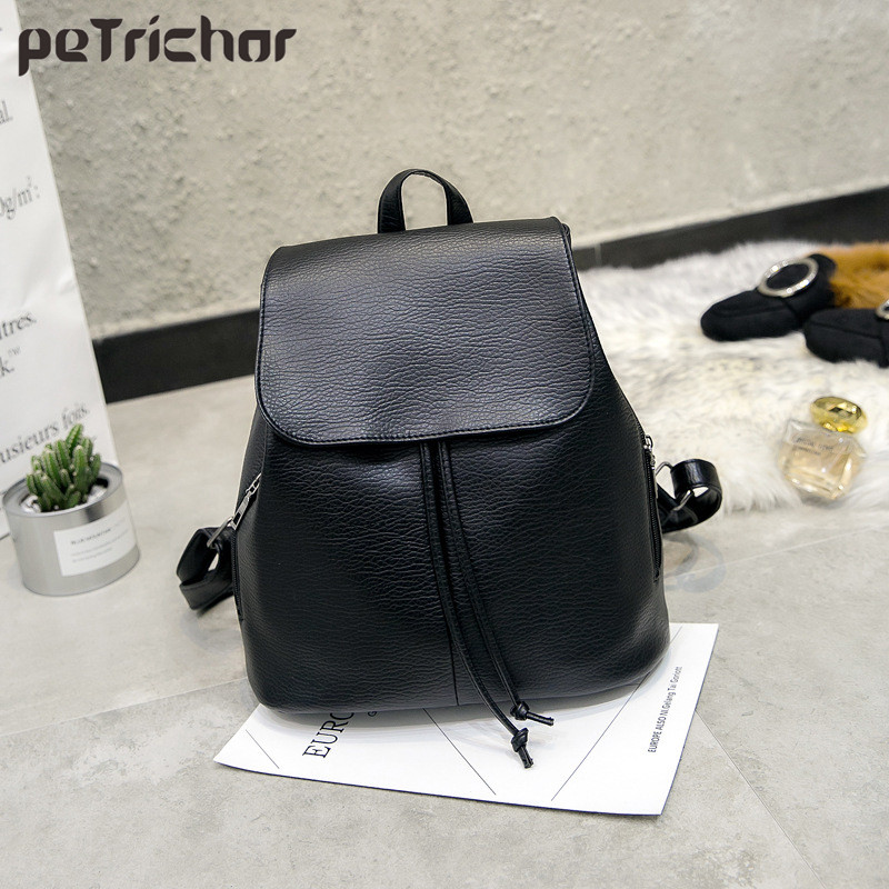 Petrichor Simple Style Women PU Leather Backpacks For Teenage Girls School Bags Casual Solid String Softback Shoulder Bag new brand designer women fashion backpacks simple koran style school for teenager girls ladies shoulder bags black