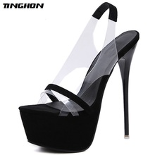 TINGHON Fashion NEW 16 CM Platform High Heels Sandals Summer Sexy Slip-On Open Toe Gladiator Party Thin Women Shoes