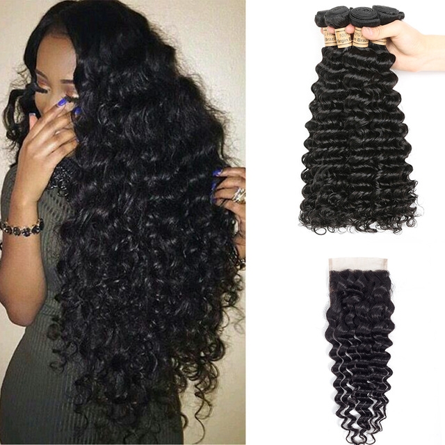 4 Bundles Human Hair Bundles Weave Wet And Wavy Hair With Lace