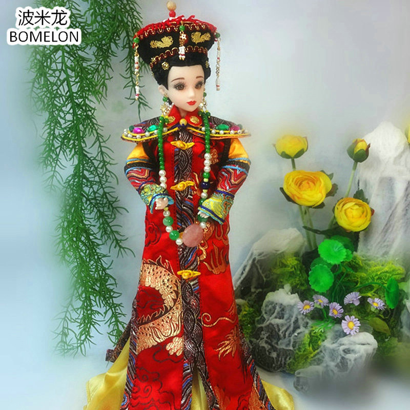 Original Hand-made Chinese Doll Qing Dynasty Empresses 12 Jointed Doll 1/6 Bjd Dolls Toy For Girl Christmas Gift Brinquedo pure handmade chinese ancient costume doll clothes for 29cm kurhn doll or ob27 bjd 1 6 body doll girl toys dolls accessories