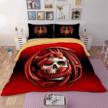 3D Skull dragon Bedding Set red color Duvet Cover twin queen king size Bedclothes 3pcs Home Textiles