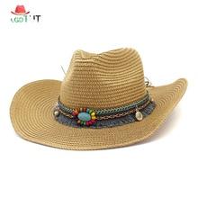 2019 New Western Cowboy Hat Straw Hat for Men and Women Beach Sun Hats Sunscreen Sunshade Panama Hat Summer Caps