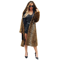 Plus Size Women Faux Fur Coat XXXL Long Jacket Leopard Print Hooded Long Sleeve tOPS 2018 Winter Warm Hairy Shaggy Streetwear