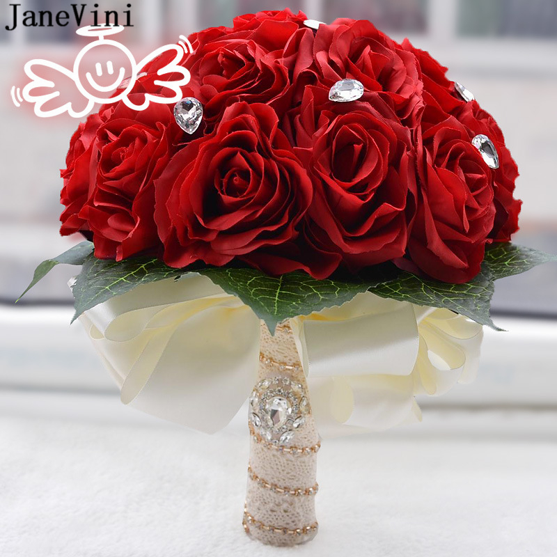 JaneVini Vintage Red Wedding Bouquets Bridal Flowers with Crystal Artificial Silk Roses Outside Wedding Brooch Bouquet Mariage