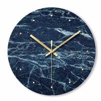 Nordic Minimalist Marble Wall Clock Art Clock Ornament Restaurant Cafe Shop Circle Wall Clock Modern Design Home Decor