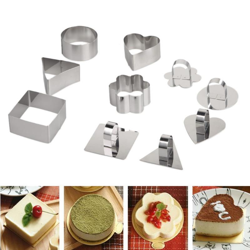 5 Pcs Kitchen DIY Bakeware Tools Cheese Shape Mold Cupcake Mold Salad Dessert Mousse Rin ...