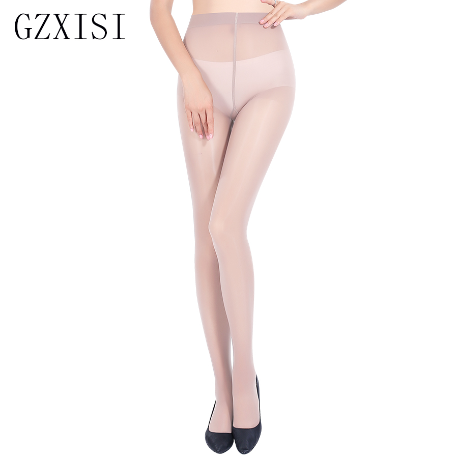 2018 15D Plus Size Nylon Tights Women Solid Color Transparent Tights Fashion Big Size Black Resistant Pantyhose Hosiery Female