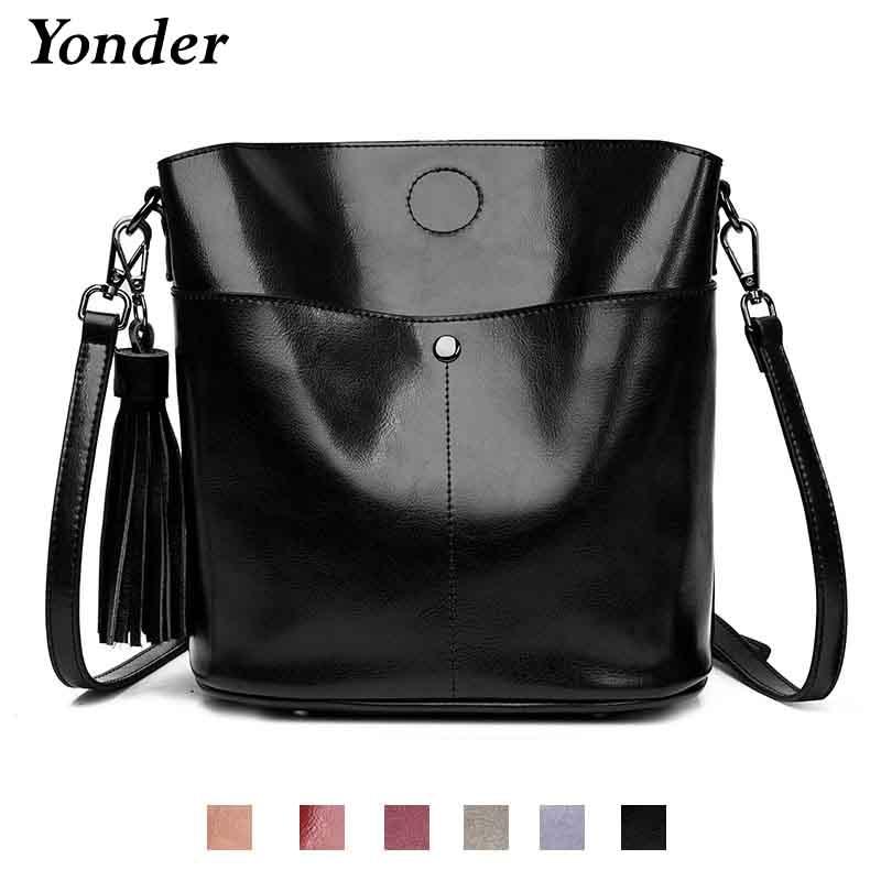 Yonder Black crossbody messenger bag women s genuine leather shoulder bag  female bucket bag women High quality brown handbags 5cf50ee041555