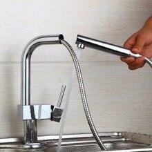 Современная Поворот на 360 градусов благоприятные в цене кухонный кран хром полированный смеситель горячей и холодной воды Поворотный Смеситель