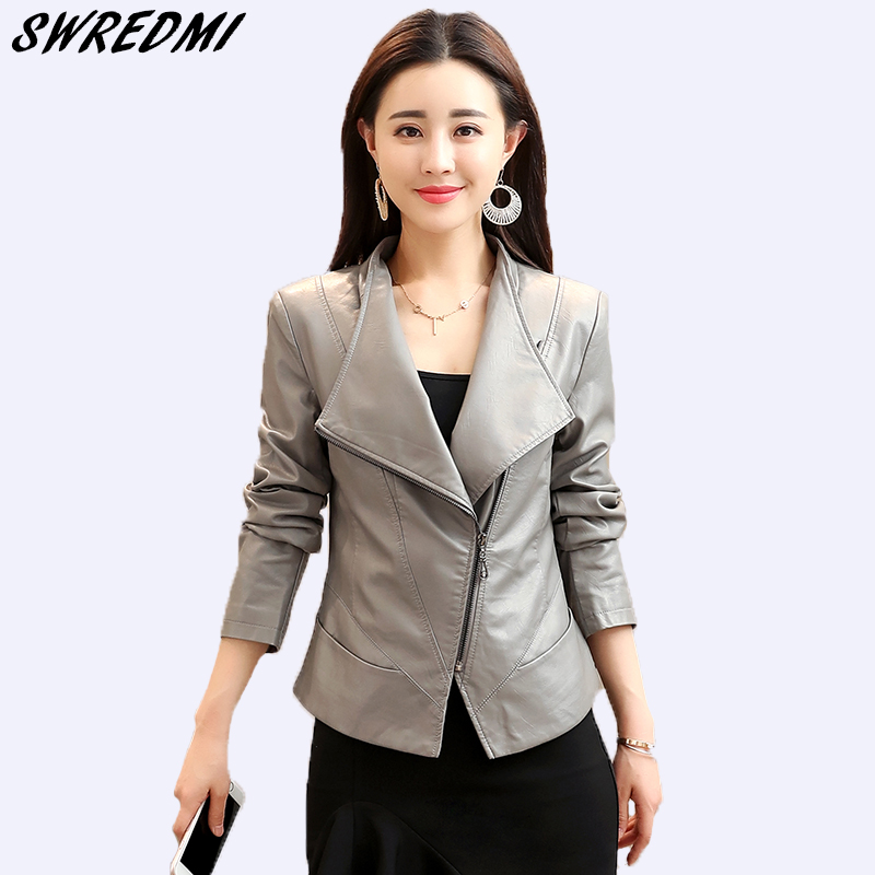 SWREDMI 2019 New Slim Fashion Spring Coat Women Short Casual Basic Grey   Leather   Jackets Female High Street Tops   Leather