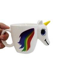 Nette Farbwechsel 3D Regenbogen Einhorn Keramik Becher Kaffee Tee Milch Heißer Wasser Tasse Drink Temperatur sensing Magische Pferd Tasse