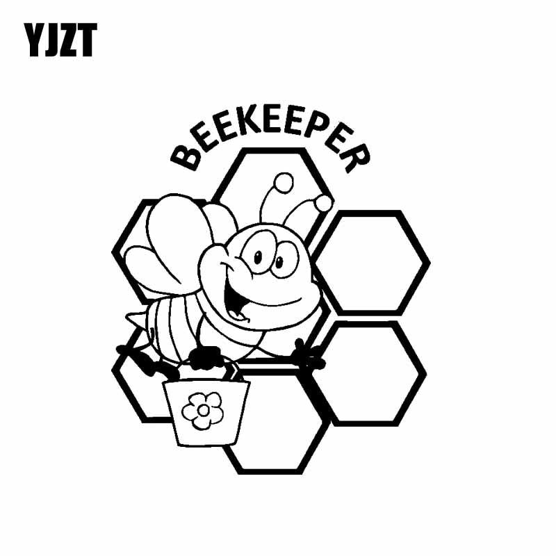 YJZT 15.2CM*17.7CM Beekeeper Bees Beekeeping Vinyl Decal Car Sticker Truck Farmer Cute Black/Silver C19-0076