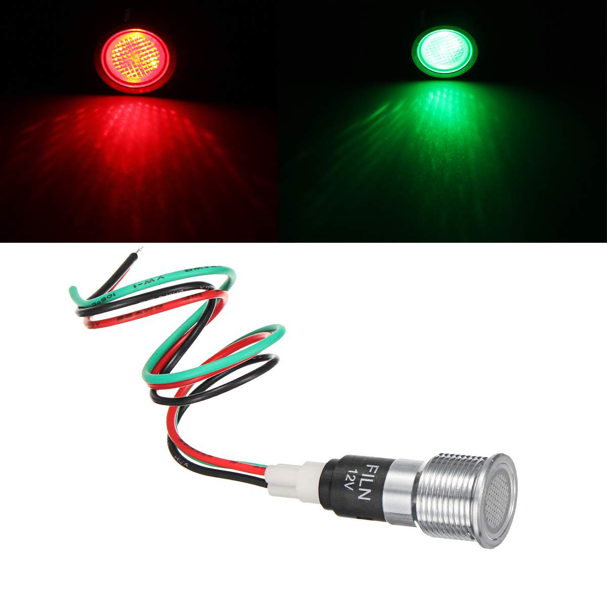 16mm Metal 12V LED Indicator Light Waterproof Signal Lamp Red Green Dual Color Warning Indicator Light With Wire For Truck Yacht