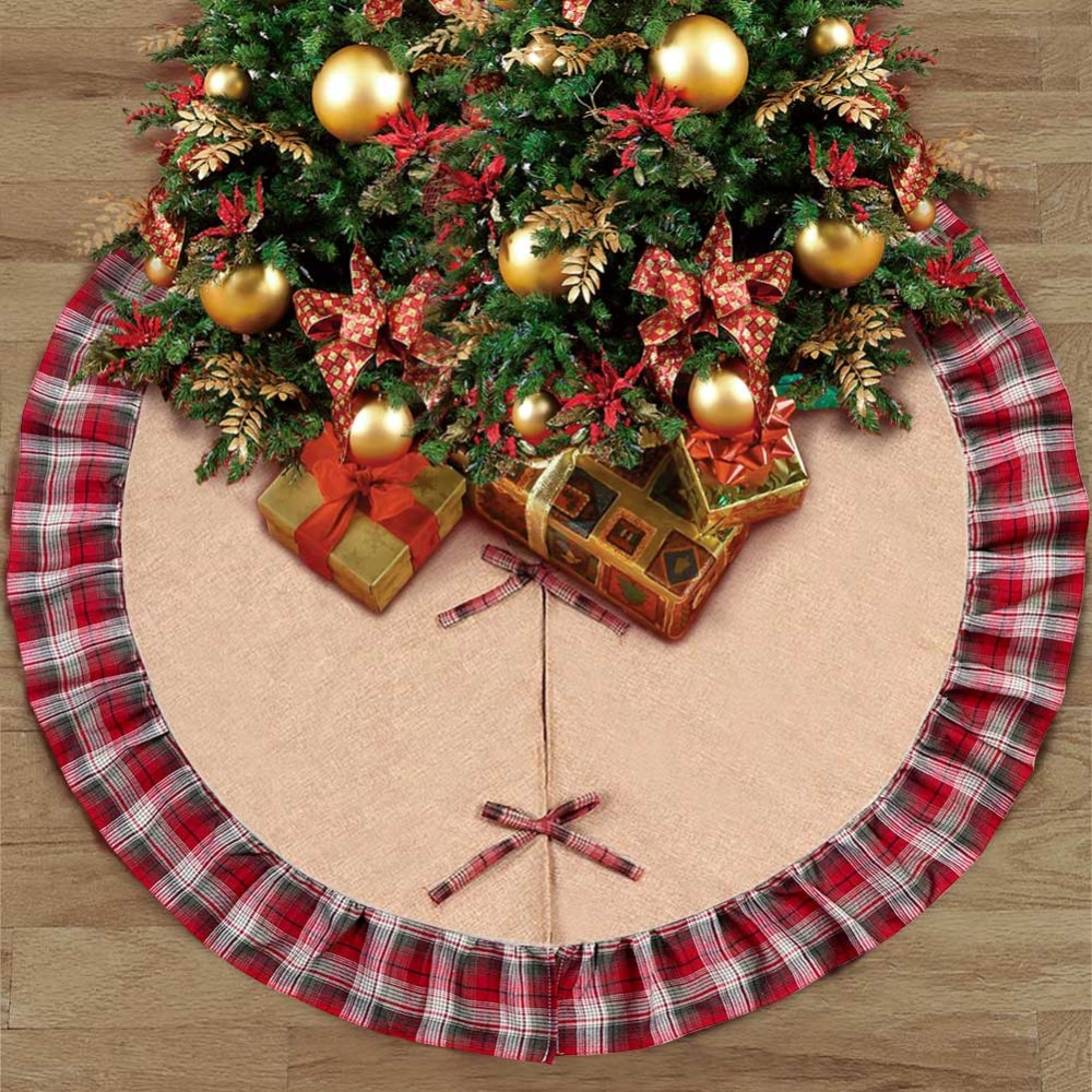 ourwarm 48 inch buffalo plaid christmas tree skirt new year christmas decorations for home christmas tree decorations navidad in tree skirts from home - Buffalo Plaid Christmas Decor