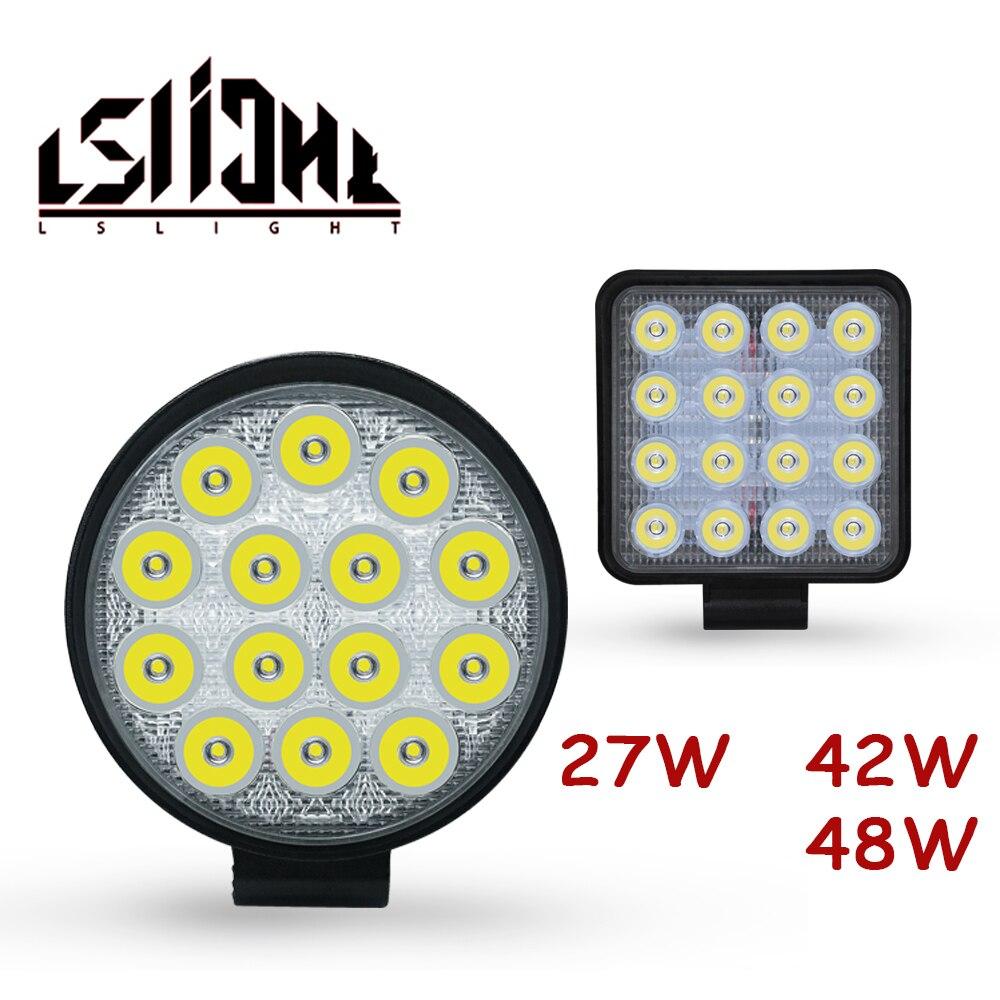 LSlight Work Light 27W 42W 48W Faros 4x4 Accessories Offroad LED Light Bar 12V Worklight Off Road Ba