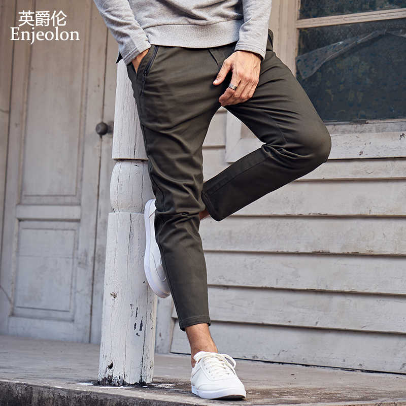 Enjeolon Brand Long Trousers Pants Men Long Straight Casual Pants Man Solid Army Green Black Casual Pants male K6105