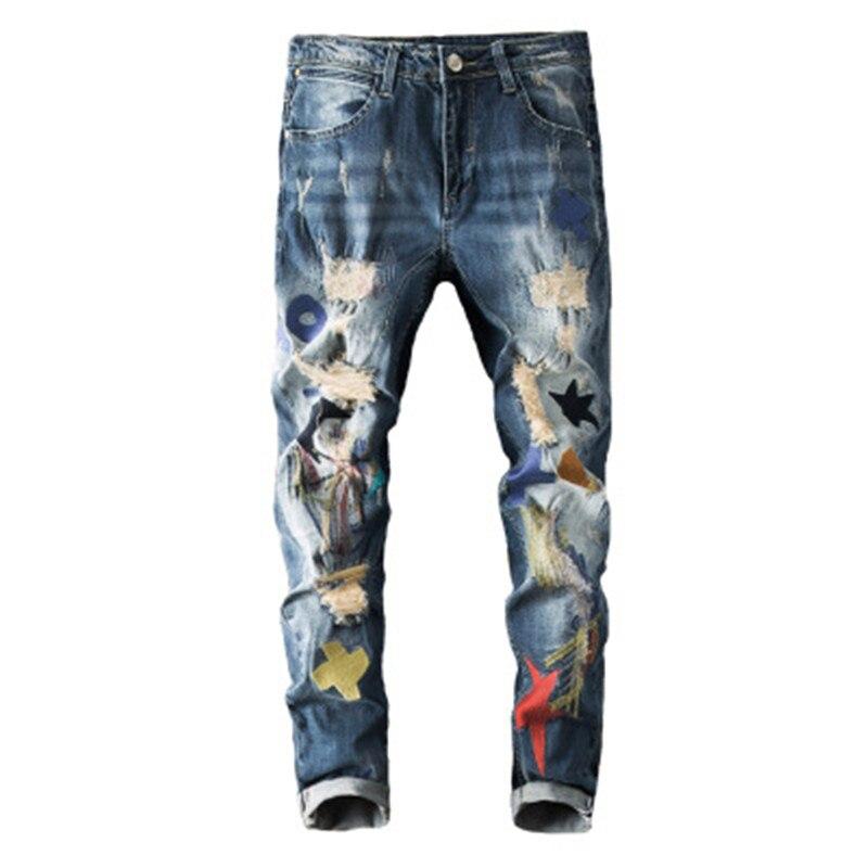 2019 printemps et été personnalité tendance hommes jeans droite Slim stretch broderie brodé trou pantalon hommes