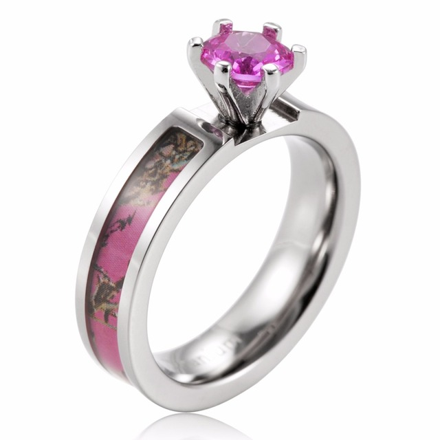 Ladies Camo Engagement Ring titanium Pink Muddy Girl Engagement