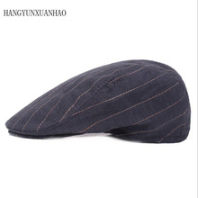 HANGYUNXUANHAO Brand Fashion Striped Big Head Large Size Hat Cap Male Ivy Hats Men Newsboy Caps Women Casual Berets Sun