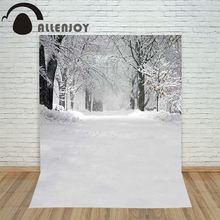 Backdrop Christmas photography Allenjoy Snow forest winter cold background photographic studio camera photo Customize