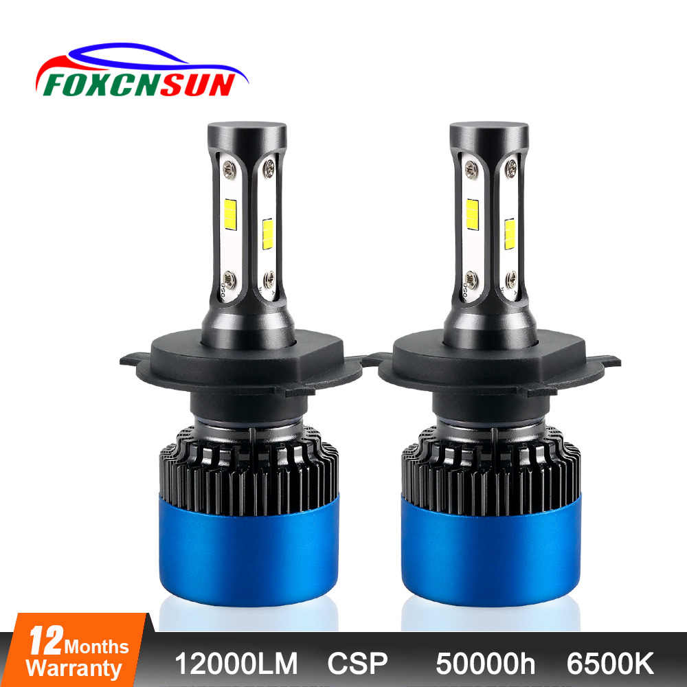 Foxcnsun Car Headlight Bulbs LED H4 H7 H11 H1 H3 9005 9006 CSP 12000LM LED Hi-Lo Beam DC12V 24V 80W Headlamp Front HB3 HB4 9012