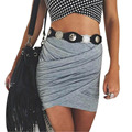 Cintura alta estilo de la calle de las mujeres Falda Atractiva Del Vendaje de Bodycon sólido corto verano de las mujeres mini faldas 2016 TONSEE