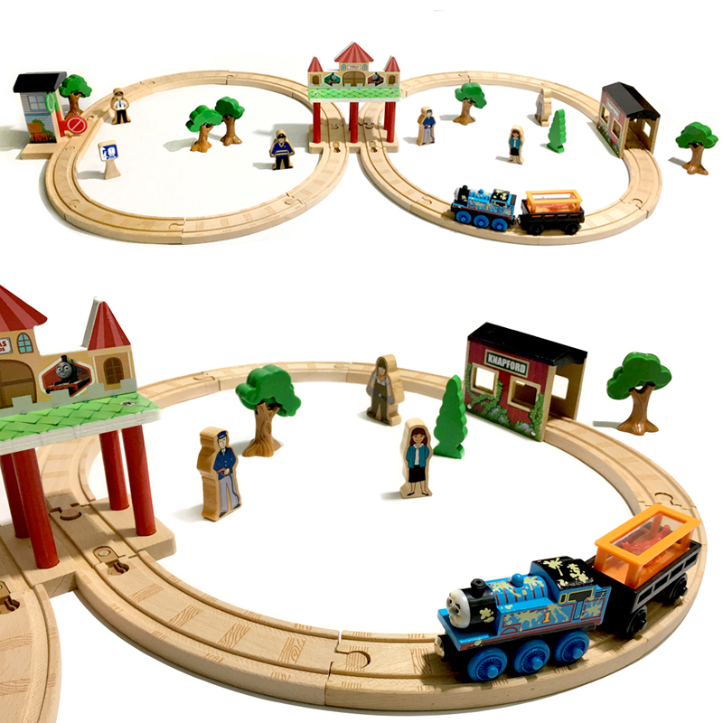 p132 Free Shipping Thomas Luxury Wooden Track Beautiful Station Track Set Compatible with Thomas Wood Track children's toys