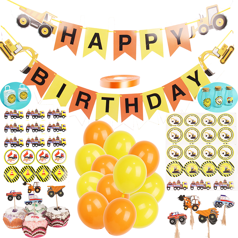 116pcs Construction Party Supplies Birthday Party Decorations Kids Vehicle Happy Birthday Banner Stickers Black/Orange Balloons116pcs Construction Party Supplies Birthday Party Decorations Kids Vehicle Happy Birthday Banner Stickers Black/Orange Balloons