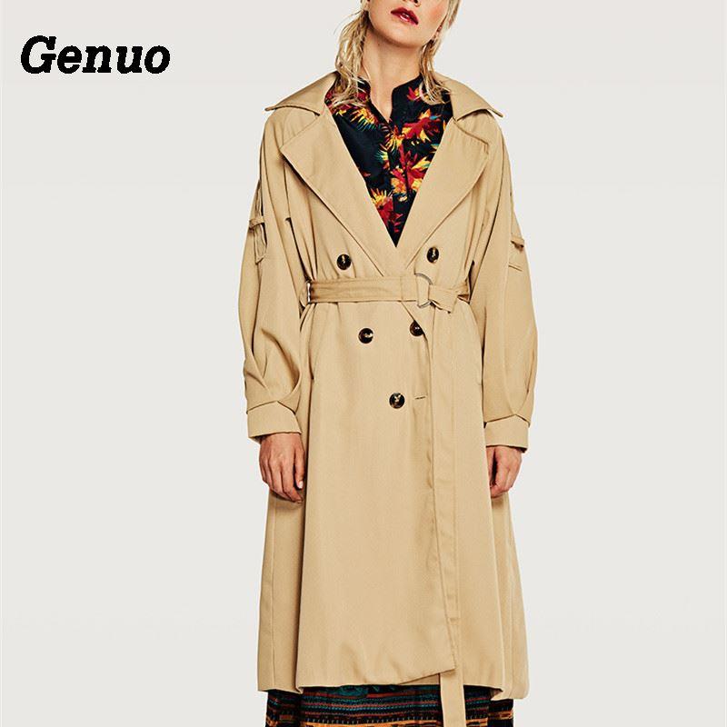 Genuo Women Double Button Trench Women's Long Classic Windbreaker Trench Coat Autumn Winter Outwear Office Lady Fashion Overcoat