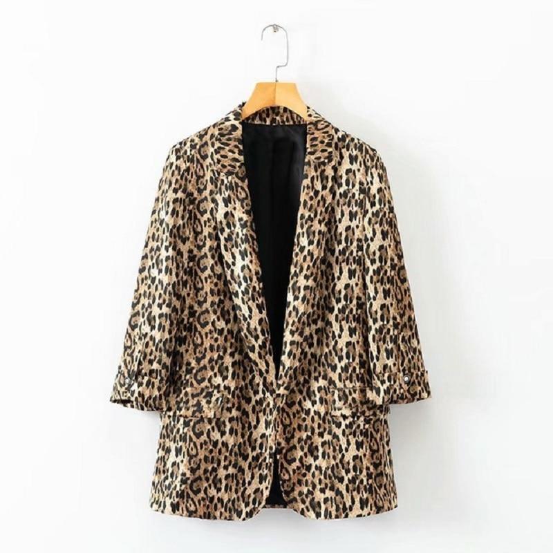 2018 Autumn Women Brown Leopard Blazers Chic Stylish Female Womens Outwear Eant Feminine Office Ladies Notched Collar Tops