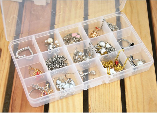 4PCS 15 Slot Plastic Jewelry Adjustable Compartments Box Case Craft