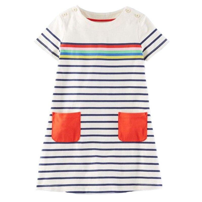 1-6T Girls Summer Dress 2018 Brand rainbow printed cute Princess Dress Children Costume for Kids Clothes Vestidos Baby Dress