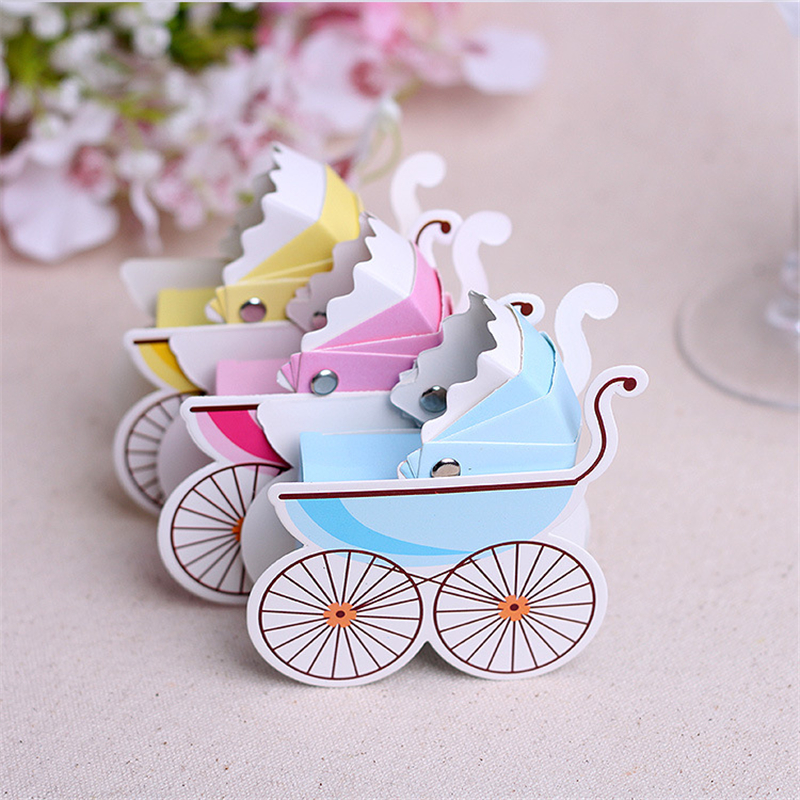 100pcs/lot Colorful Baby Carriage Baby Shower Trolley Paper Guest Return  Gift Candy Chocolate Holder