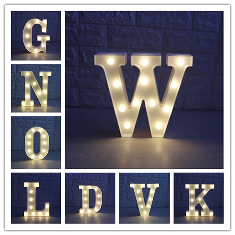 26 Letters White LED Night Light Marquee Sign Alphabet Desk Lamp For Indoor Birthday Wedding Party Bedroom Wall Hanging Decor fashion letters and zebra pattern removeable wall stickers for bedroom decor