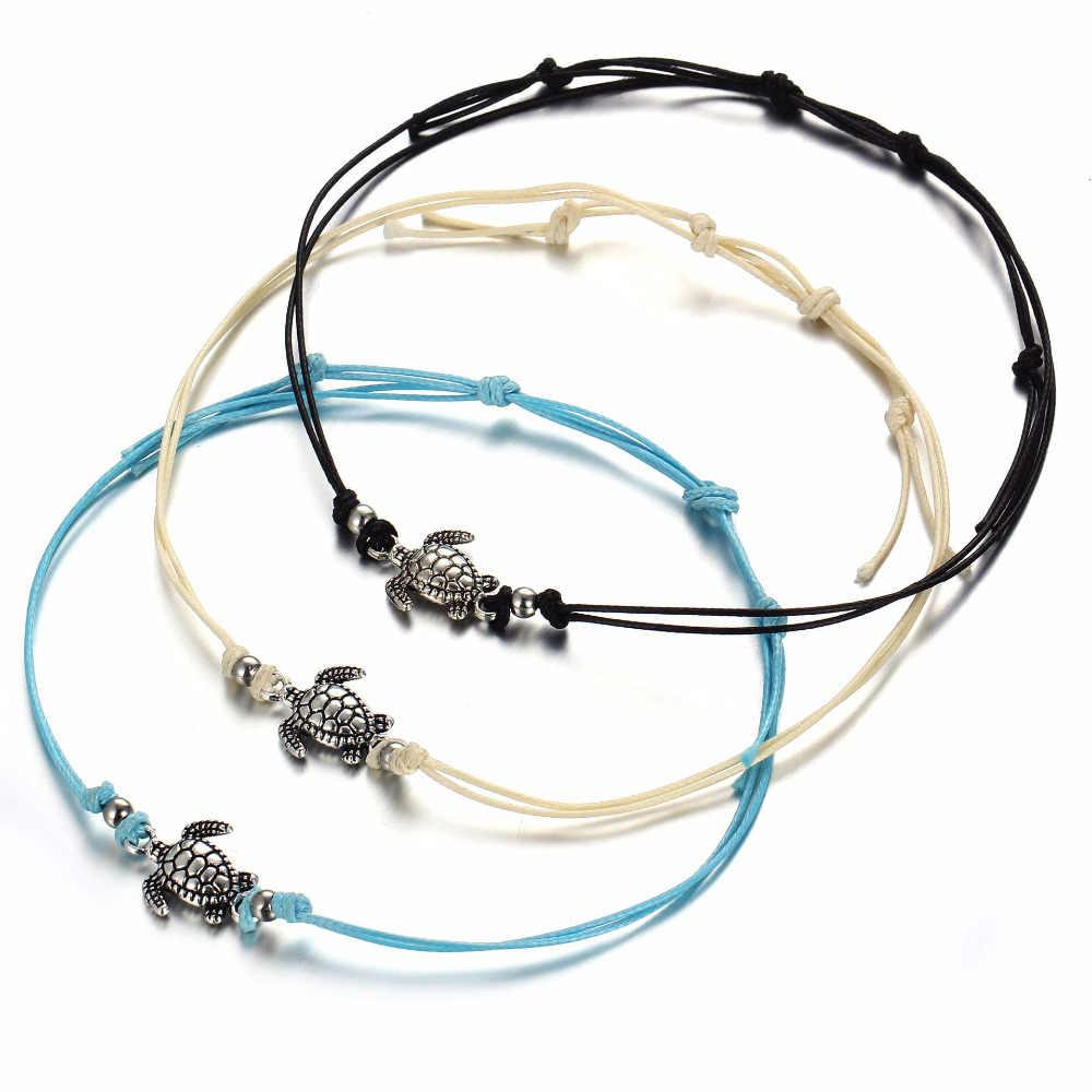 MISM Boho kostki bransoletka dla kobiet dziewczyny na plaży stóp biżuteria akcesoria żółwia wisiorek kształtowany sznurek linowy obrączki bransoletka w stylu retro