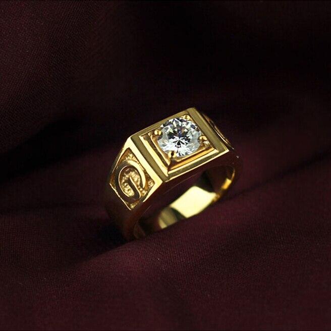 Carat Imitated Diamond Wedding Band Ring Men In Gold Plated Titanium Stainless Steel Wedding Jewelry Bijoux